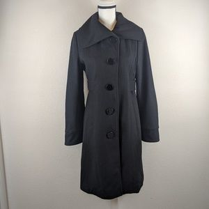 Guess Wool Blend Single Breasted Black Peacoat M